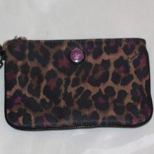 Coach Ocelet Leopard Print PURPLE Wallet Wristlet